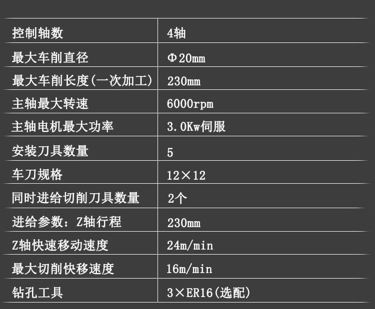 TCSZ-20走心机技术参数