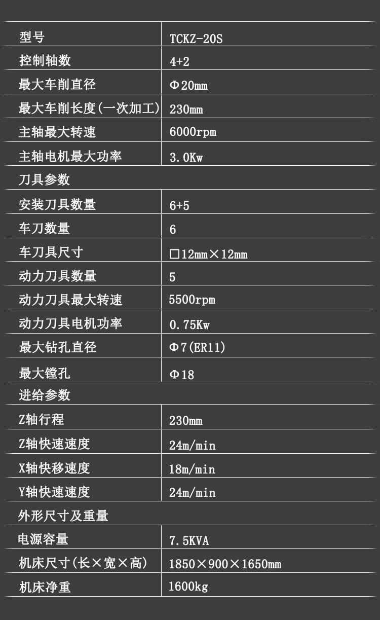 TCKZ-20S乐鱼电竞官网登录车削中心技术参数